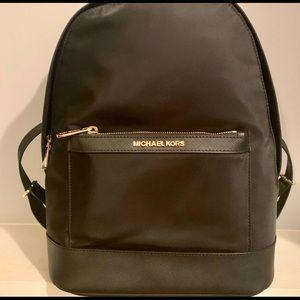 Michael Kors Morgan Black Gold Nylon Backpack